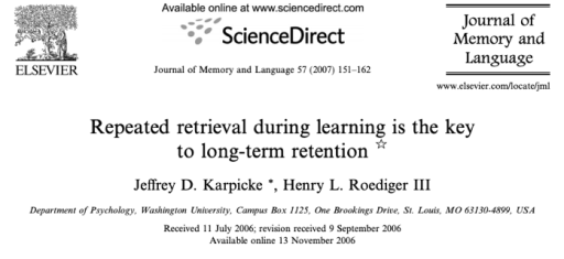 Repeated Retrieval Study